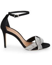 Schutz Jolita Embellished Suede Ankle-strap Sandals - Black
