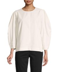 Madewell Crepe Puff Sleeve Top - White