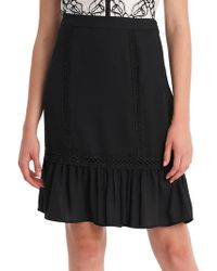 Karl Lagerfeld - Lace-trimmed Knee-length Skirt - Lyst