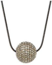 Arthur Marder Fine Jewelry Sterling Silver & Champagne Diamond Ball Pendant Necklace - Metallic