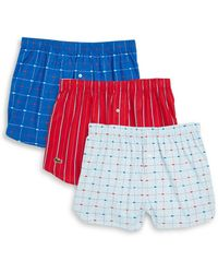 Lacoste - Three-pack Cotton Boxer Shorts - Lyst