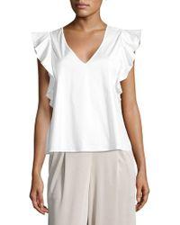 Saks Fifth Avenue Black Flutter Sleeve Blouse - White