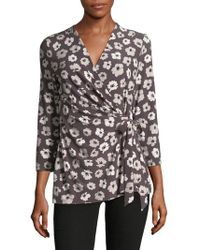 Jones New York - Floral Wrap Top - Lyst