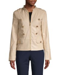 9d24fe8d5 Buttoned Faux-leather Jacket - Natural