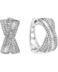 Effy 14k White Gold Diamond Bow Stud Earrings - Multicolour