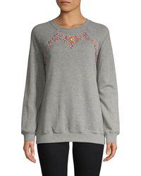 Hemant & Nandita Embellished Raglan Cotton Sweatshirt - Red