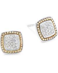Effy - Sterling Silver & 18k Yellow Gold Diamond Square Earrings - Lyst