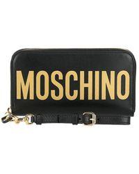 Moschino Women's Logo Leather Wristlet Wallet - Black Gold