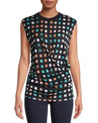 BOSS by Hugo Boss Women's Esanta Grid-print Top - Black Multicolour - Size L