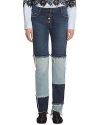 Each x Other Patchwork Cotton Jeans - Blue