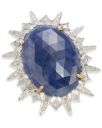 Artisan Two-tone, Sapphire & Diamond Ring - Blue