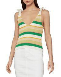BCBGMAXAZRIA Ribbed Bow Tie Cotton-blend Tank Top - Green