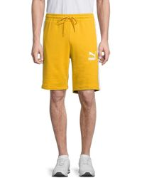 PUMA Men's Iconic T7 Shorts - Yellow - Size M