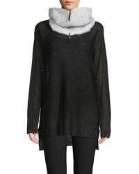 Lafayette 148 New York Mink Fur Cashmere Scarf - White