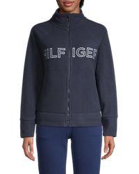 Tommy Hilfiger Women's Logo Stand-collar Jacket - Navy - Size L - Blue