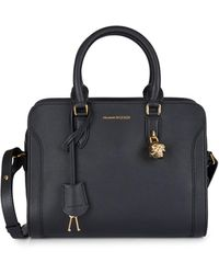 Alexander McQueen Small Pebbled Leather Satchel - Black