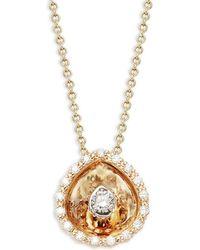 Plevé - Aura 14k Yellow Gold & Diamond Hidden Halo Pear Pendant Necklace - Lyst