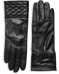 Portolano - Quilted Braid Leather Gloves - Lyst