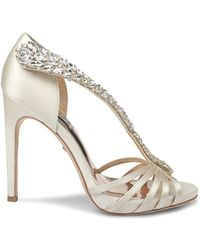 Badgley Mischka Women's Emma Embellished Heeled Satin Sandals - Ivory - Size 9.5 - White