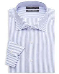 Saks Fifth Avenue Slim-fit Stripe Cotton Dress Shirt - White