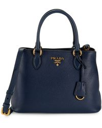 Prada Pebbled Leather Satchel - Blue