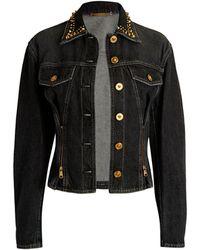 Versace Stud-embellished Denim Jacket - Black