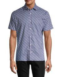 Bertigo Nicolas Short-sleeve Retro-print Poplin Shirt - Blue