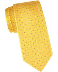 Ferragamo Apples & Worms Silk Tie - Yellow
