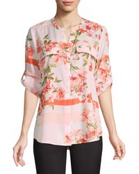 Calvin Klein Botanical Roll-sleeve Utility Blouse - Pink