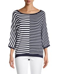 Joseph A Striped Dolman-sleeve Pullover - Blue