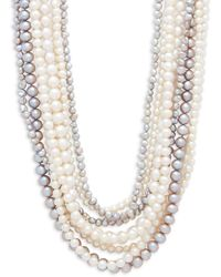 Belpearl 4-8mm Multicolour Semi-round & Baroque Pearl And Sterling Silver Multirow Necklace - Metallic