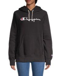 Champion Women's Logo Embroidery Sweatshirt - Elegant Magenta - Size M - Black