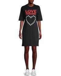 Love Moschino Women's Heart Logo T-shirt Dress - Black - Size 40 (2)