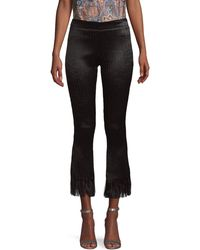 Chloé Frayed Cotton-blend Cropped Trousers - Black