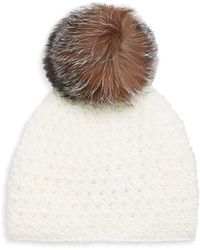 Surell Fox Fur Pom-pom Hat - White