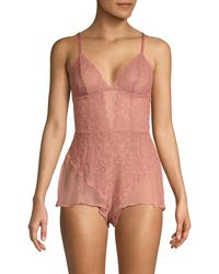 DKNY Lace Romper Teddy - Red