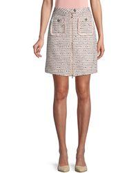 Karl Lagerfeld Front-zip Tweed Skirt - White