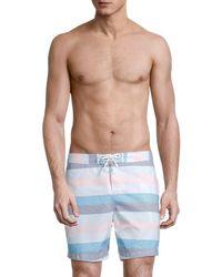 Original Penguin Stripe Swim Trunks - Blue