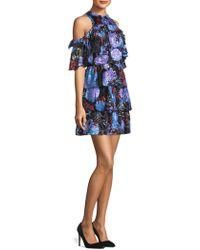 Alice + Olivia Nichola Cold-shoulder Ruffle Dress - Blue