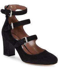 Tabitha Simmons Ginger Suede Triple-strap Mary Jane Pumps - Black