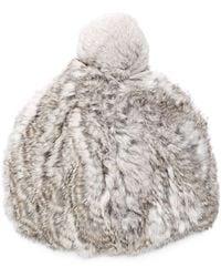 Surell Rabbit Fur Beanie - White