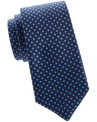 Kiton Pin Dot Silk Tie - Blue