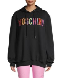 Moschino Women's Logo Embroidery Oversized Hoodie - Black - Size 40 (6)
