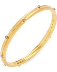 Arthur Marder Fine Jewelry Silver & Champagne Diamond Bangle Bracelet - Metallic