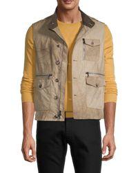 John Varvatos Men's Faux Leather Patch-pocket Vest - Dark Ghurka - Size 46 (36) - Brown