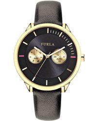 Furla - Metropolis Black Dial Calfskin Leather Watch - Lyst