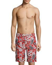 Tommy Bahama Baja Forte Floral-print Swim Trunks - Red