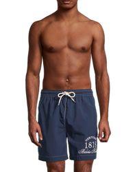 Brooks Brothers Montauk Logo-print Swim Shorts - Blue