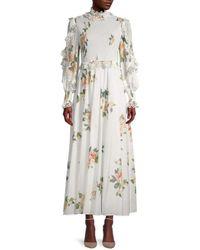 Zimmermann Kirra Floral Shirred Ruffle Dress - White