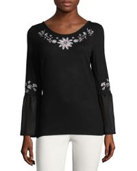 August Silk - Embroidered Peasant Top - Lyst